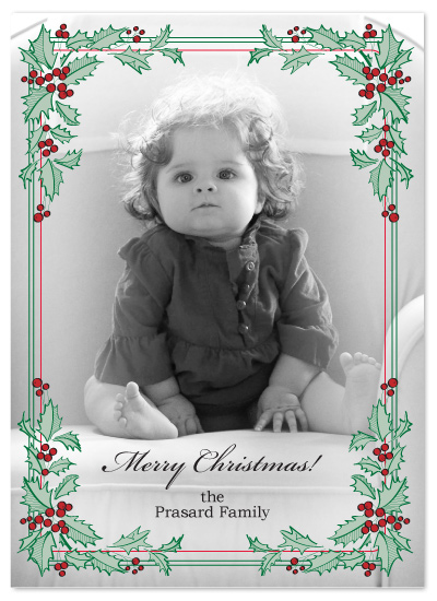 holiday photo cards - Holly Wreath by Monika Natius