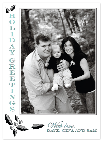 holiday photo cards - Holly Stripes by F Squared Designs