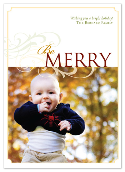 holiday photo cards - Be Merry by Jennifer Amy Designs