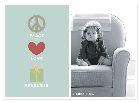 holiday photo cards - Peace Love Presents by The Social Type