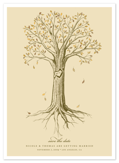 save the date cards - carved tree by pottsdesign