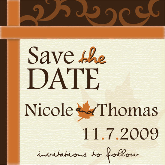 save the date cards - Autumn Leaves by Hilary Tompkins