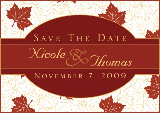 save the date cards - Fall Leaf Print by J Sosa