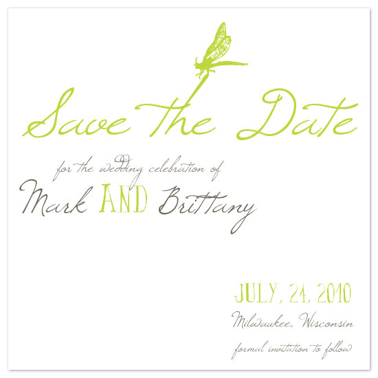 save the date cards - Garden Green Dragonfly by Pretty {much} Art