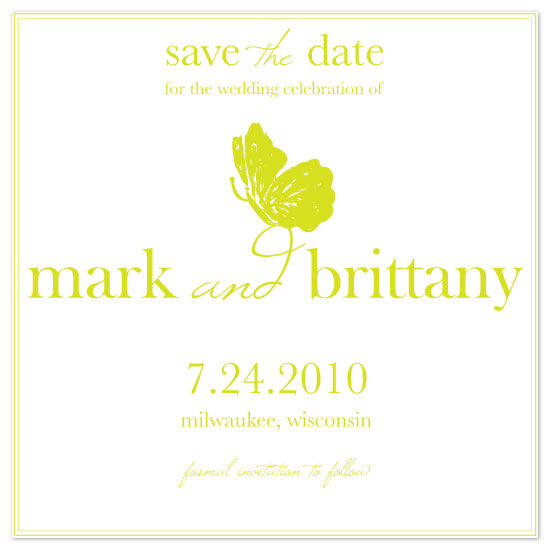 save the date cards - Green Butterfly by Pretty {much} Art