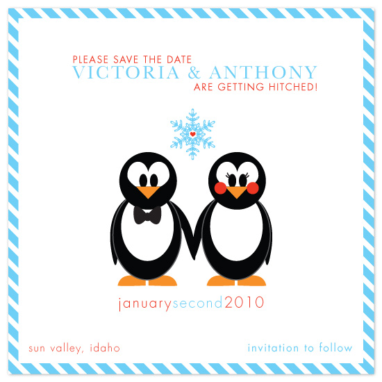 save the date cards - Penguins In Love by idieh | design
