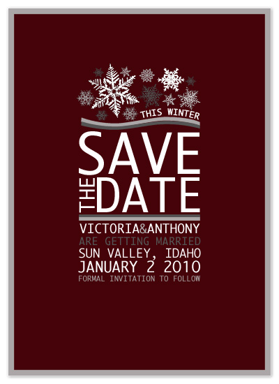 save the date cards - Snowflakes For Winter Save The Date by Far-Far Design