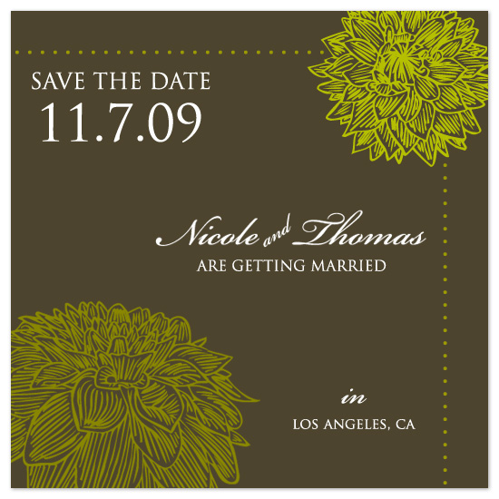 save the date cards - Fall Dahlias by Jeanne Yee