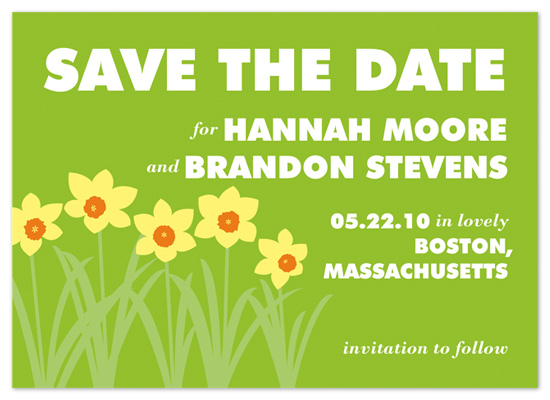 save the date cards - Daffodils by Kathryn Westcott