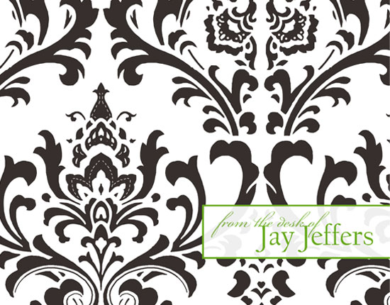 personal stationery - Damask with a Twist by Customized Stationary