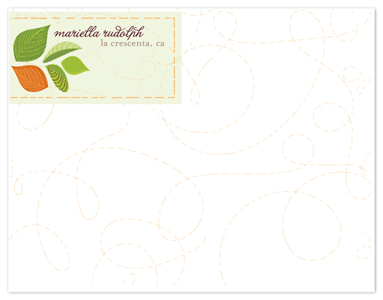 personal stationery - Whirling Leaves by Candice Leigh