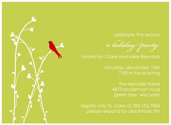 party invitations - Brid on a Branch by Customized Stationary