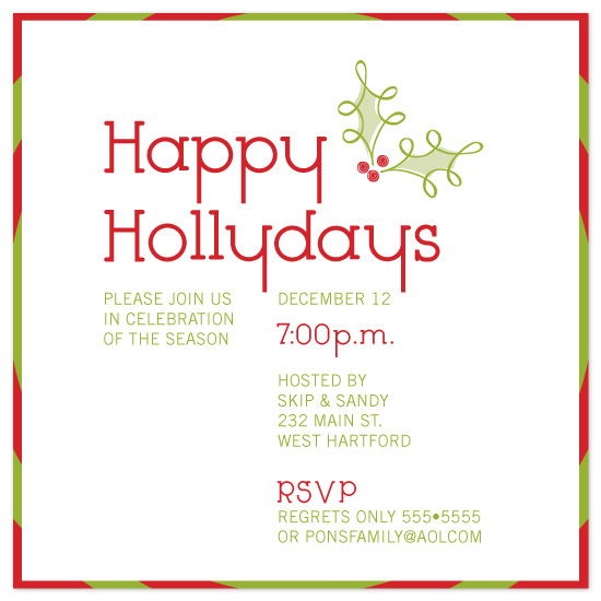 party invitations - Happy Hollydays by Sandy Pons