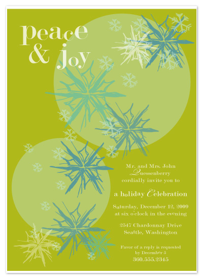 party invitations - Green Snowflakes by Pretty {much} Art