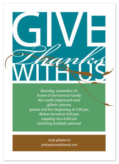 party invitations - Give Thanks by Karen Glenn