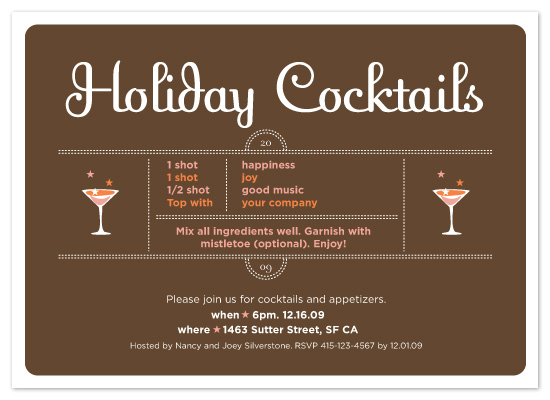 party invitations - Holiday Cocktails by Le Petit Graphiste