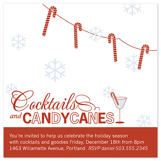 party invitations - Candycanes & Cocktails by lauren mummé