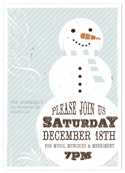 party invitations - Retro Snowman Invite by Rachael Schendel