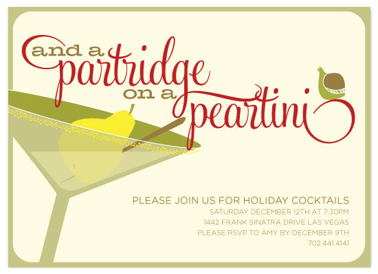party invitations - Partridge + Peartini by Three Kisses Studio