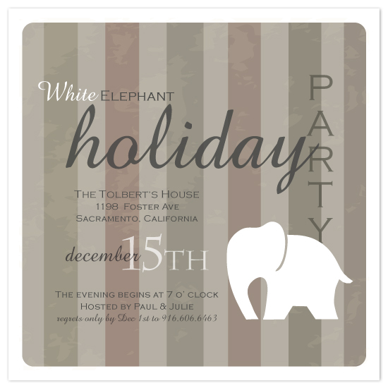 party invitations - Vintage white elephant by SimpleTe Design