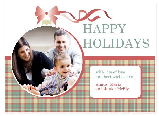 holiday photo cards - tartan bauble by Natti