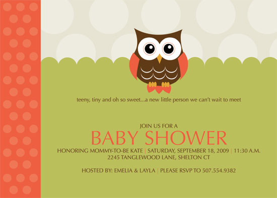 invitations - Baby Owl by Kristin Woodwick