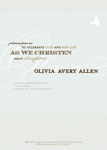 invitations - simple dove baptism by B Etheredge