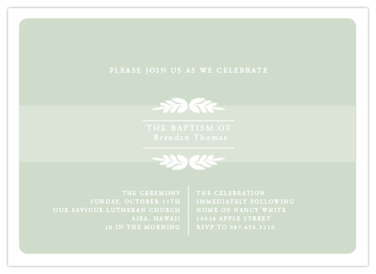 invitations - Classic Olive branch Baptism by Alissa Mercier