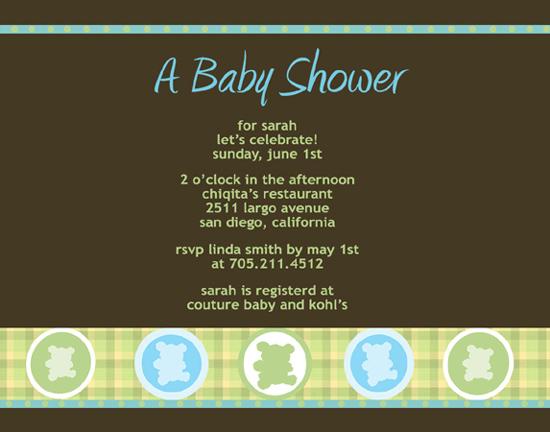 invitations - Plaid and Teddy Bear Shower by Lisa Saliture