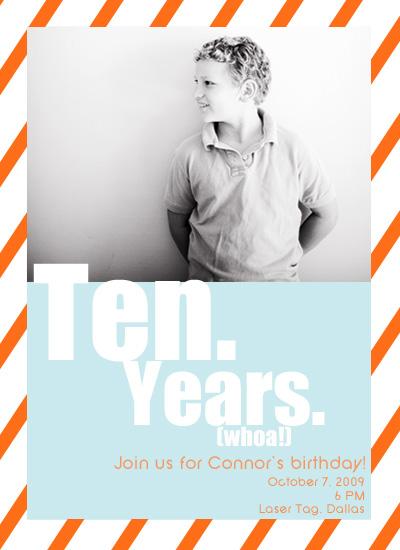 party invitations - Whoa!  Ten Years by Hailey Erickson