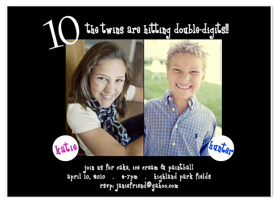 party invitations - Double Digits Birthday by Weddings and Wellies