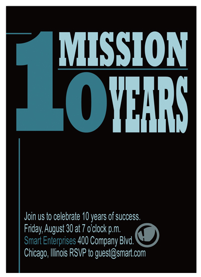 party invitations - One Mission Ten Years by Christy Vance