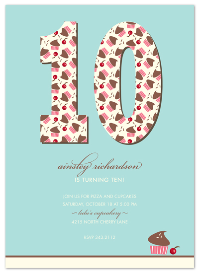 party invitations cupcake birthday at Minted – 10th Birthday Invitations