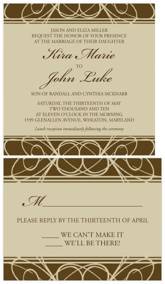 wedding invitations - Brown Swirls by Lauren Campbell