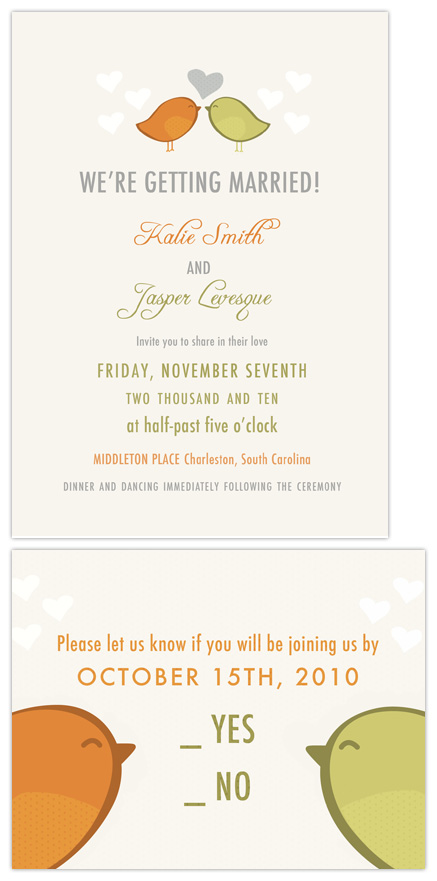wedding invitations - Birds of a Feather by Peek Designs