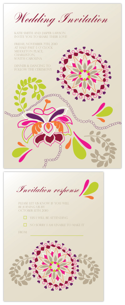 wedding invitations - bright and floral  by Natti