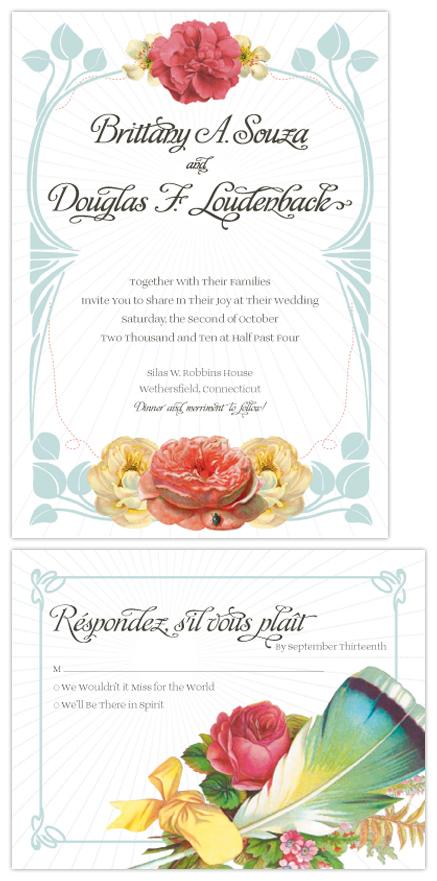 wedding invitations - vintage art deco by nichole tremblay