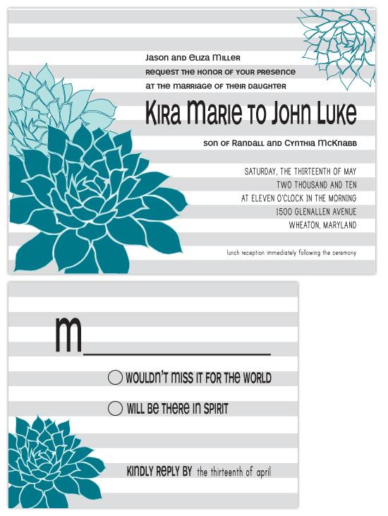 wedding invitations - succulent stripes by kelly robinson harris