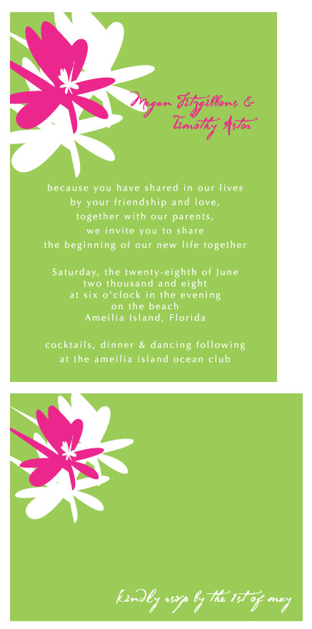 wedding invitations - hibiscus wedding by Weddings and Wellies