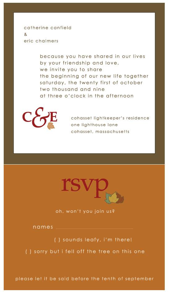 wedding invitations - leafy fall wedding by Weddings and Wellies