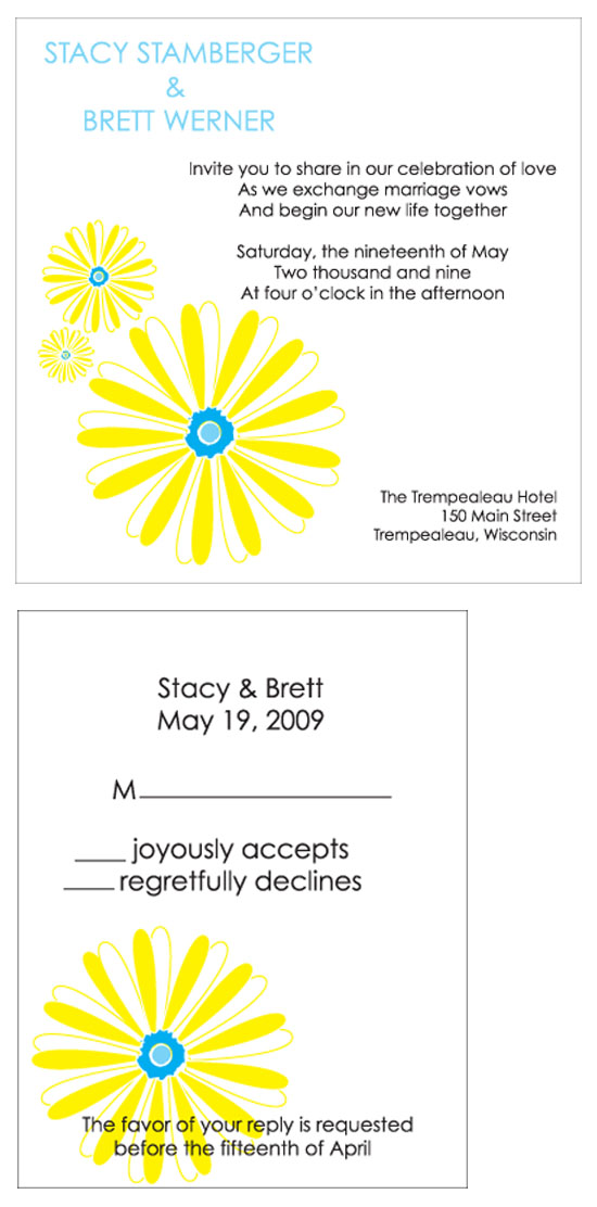 wedding invitations - spring daisies by Weddings and Wellies