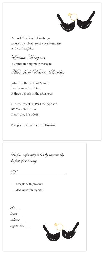 wedding invitations - Black Tie Lovebirds by Erin Calver