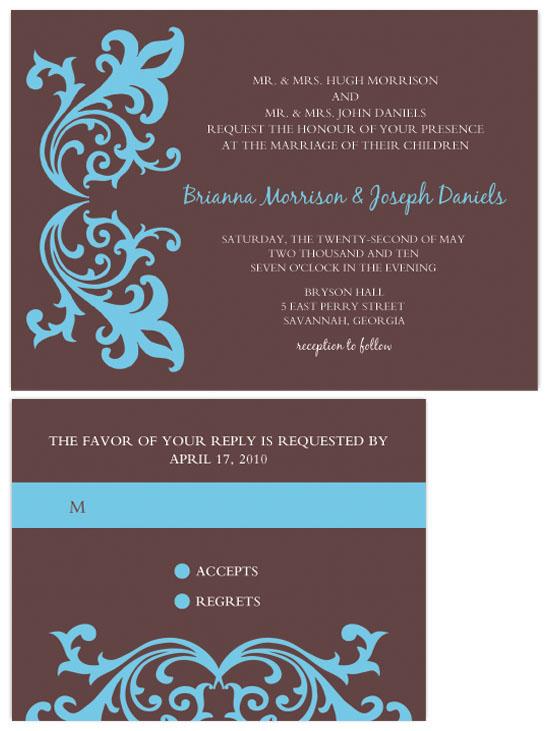 wedding invitations - Blue Flower by Lori Moore
