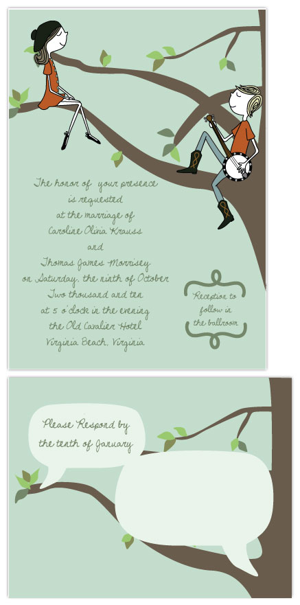 wedding invitations - Sitting in Tree K-I-S-S-I-N-G by Jennifer Temple