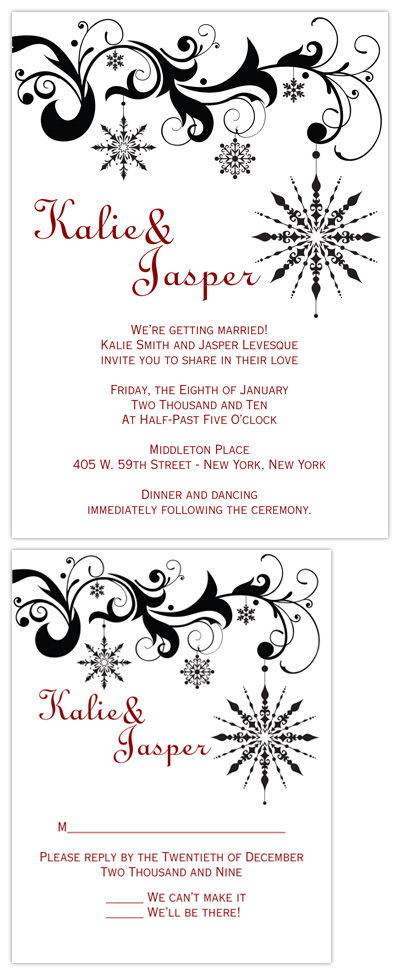 wedding invitations - Black & White Snowflake by Amanda Heineman