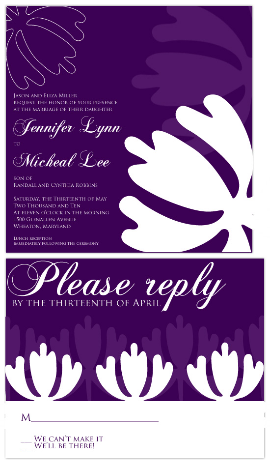 wedding invitations - Purple Modern Floral by Hailey Erickson