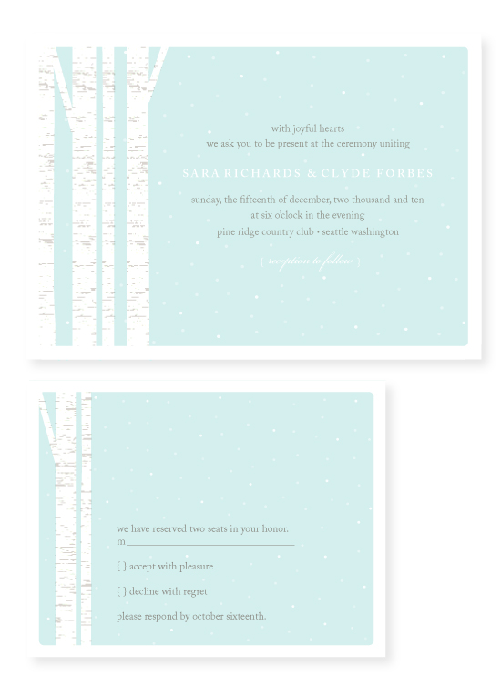 wedding invitations - winter birch by Marabou Design