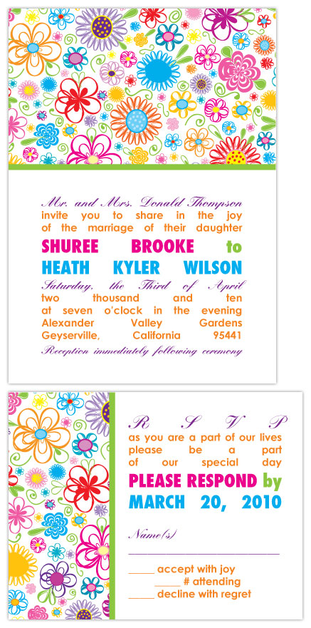 wedding invitations - Modern Multicolor Wildflowers by Joyful Heart Design