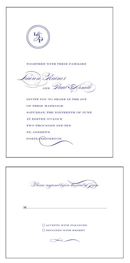 wedding invitations - Classic Monogram by Sarah Drake