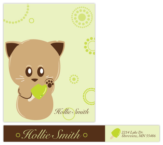 personal stationery - Lime Kitty by Ashley Hay